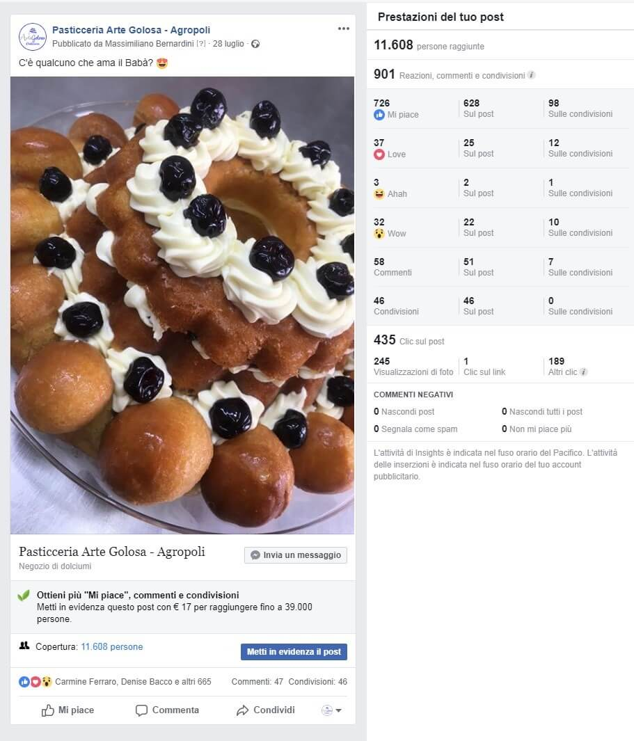interazioni pagina Facebook